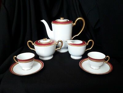 OKURA▪ White & Burgundy GOLD Trim▪ TEAPOT ▪CREAMER▪SUGAR BOWL ▪2 CUPS & SAUCERS