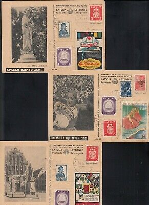LATVIA 1940 5 postcards postmarked TETELE  with various issues - not sent