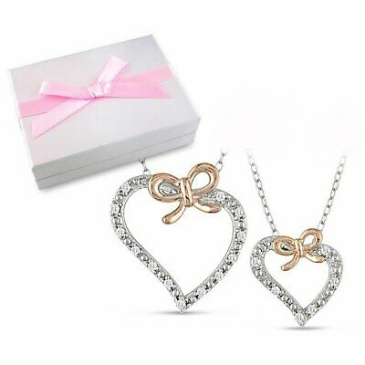 Miadora Sterling Silver 1/5ct TDW Diamond Heart Necklace Mother-Daughter Boxed