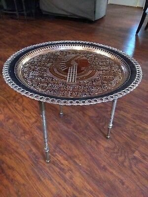 "Vintage Hand Made Copper Egyptian Table 19-1/2"" Wide Made In Egypt Brass Legs"