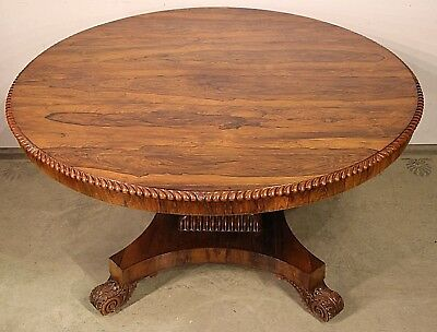 Big Rare antique 1820's Regency Brazilian rosewood dining table seats 6 original