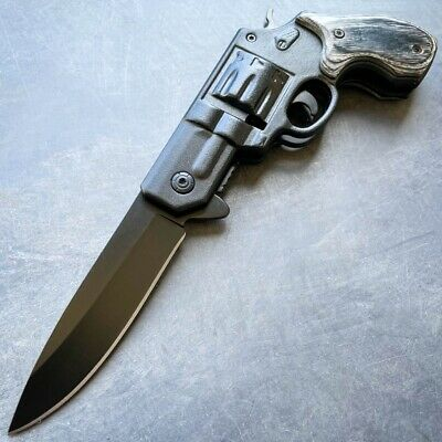 TACTICAL Spring Assisted Open Pocket Knife CLEAVER RAZOR FOLDING Blade - BLUE