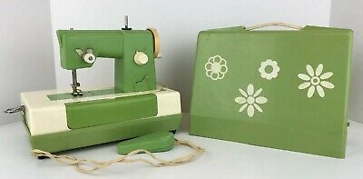 Vintage Crystal Green Childrens Battery Operated Floral Pattern Sewing Machine