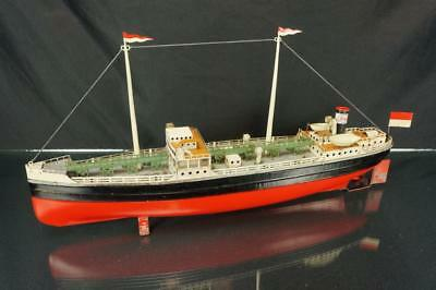 Vintage Fleischmann German Esso Oil Tanker Tin Clockwork Wind Up Toy Boat Ship