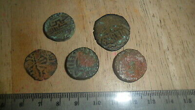India Ancient  Medieval 5 Coin Lot Copper  Unidentified Take A Look.