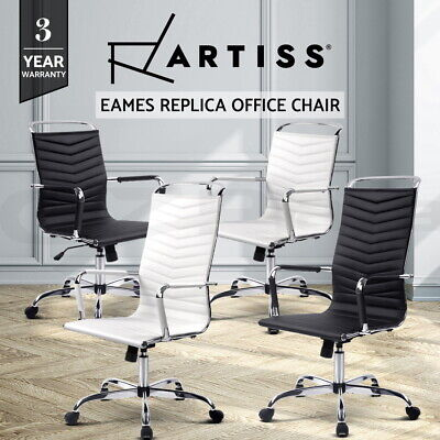 Artiss Eames Replica Office Chairs Computer Desk Seating Executive White Black