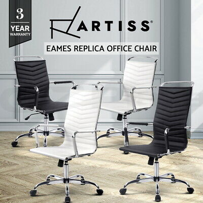 Artiss Office Chair Computer Eames Replica Chairs Seating White Black