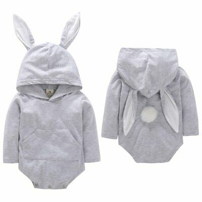 Cute Easter Rabbit Toddler Baby Infant Clothes Kid Girl Boy Hoodie Romper Top JU
