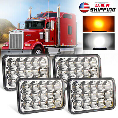 """For Kenworth T800 T400 T600 W900B 4X6"""" 5D LED Headlight H4 Sealed DRL Pair"""