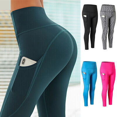 Womens High Waist Yoga Pants With Pocket Sports Leggings Fitness Gym Trousers G1