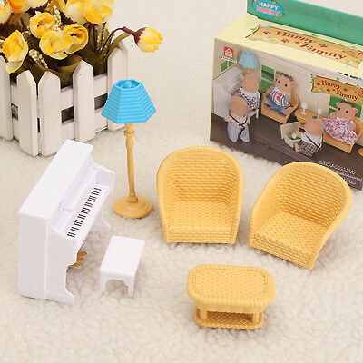 1:12 Doll House Miniature Furniture White Piano Sofa Model Set Decor Kids Toy