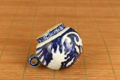 chinese old blue and white  porcelain hand painting phoenix bird feeder jar pot