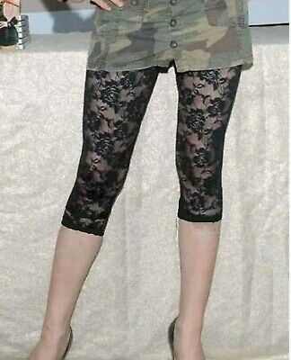 Women Floral See through Rose Lace Safety Short Cropped Pants Leggings Underwear