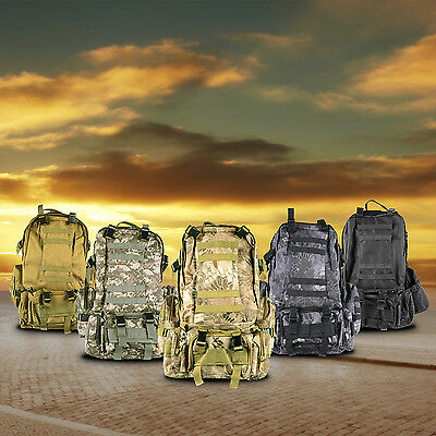 55L 4-in-1 Molle Outdoor Military Tactical Bag Camping Hiking Trekking Backpack