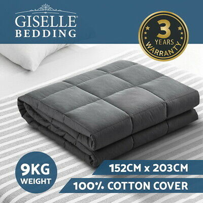 Giselle Weighted Blanket Adult 9KG Cotton Heavy Gravity Deep Relax Relief Sleep
