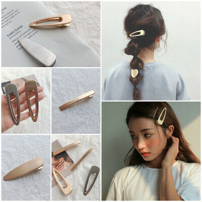 Metal Duckbill Clips Blonde Barrette Womens Hollowed Out Side Hairpin