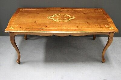 Walnut coffee table carved rococo antique marquetry inlay superb quality ornate