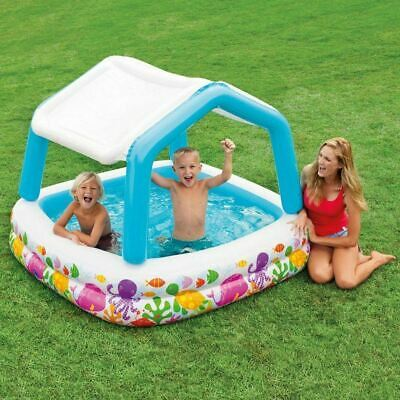 Childrens 1.4m Swimming Paddling Pool Inflatable with UV Sun Shade Canopy 52192