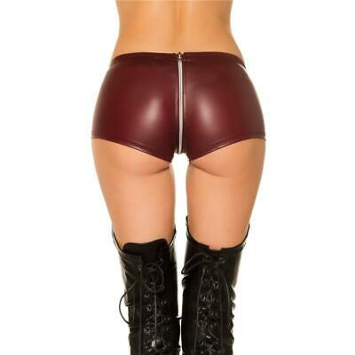 Sexy Gogo-Hotpants Wetlook mit Zipper im Schritt Bordeaux #GW835