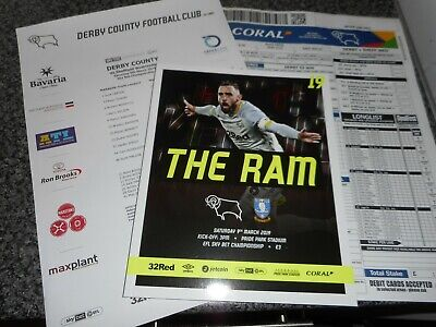 DERBY COUNTY  v  SHEFFIELD WEDNESDAY  2018/19  MAR  9 + FREE  EXTRAS ONLY  £2.99