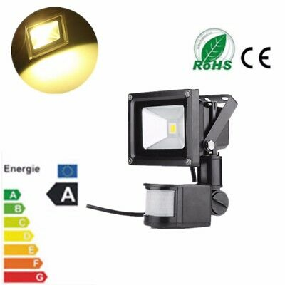 10W PIR LED Flood Light Motion Sensor Security Floodlight Warm White Black Lamp