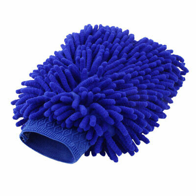 Home Chenille Car Windshield Window Glass Dust Cleaning Microfiber Glove Blue