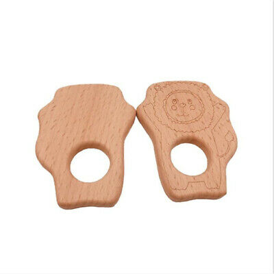 Baby Wooden Lion Teether Baby Teething Toy Natural Organic Eco-friendly Toy CB