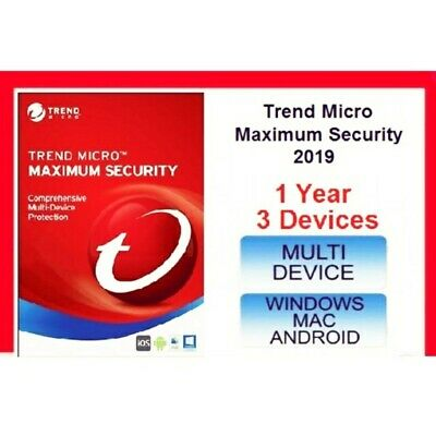 Trend Micro Maximum Security 2019 3 Devices 1 Years PC | MAC | Android