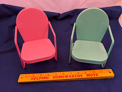 Dollhouse Doll Furniture Pink Turquoise 2 Pair Chairs Mid Century Beach 7.5""