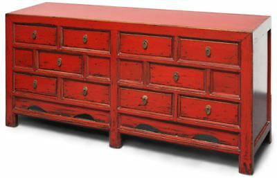 China Kommode Rot aus Ulmeholz 170 cm asiatisches Sideboard - AsienLifeStyle