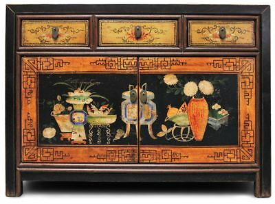 Asiatische Kommode Schwarz 117 cm - Antik-Look Sideboard China - AsienLifeStyle