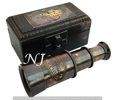 Antique Handheld Brass Victorian Telescope with Wooden Box - Pirate Navigation