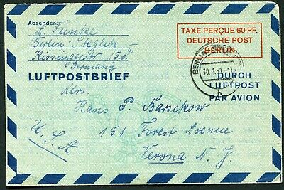 Germany (Berlin) 1949 60pf postal stationery air letter LF.2 used to Italy 1951