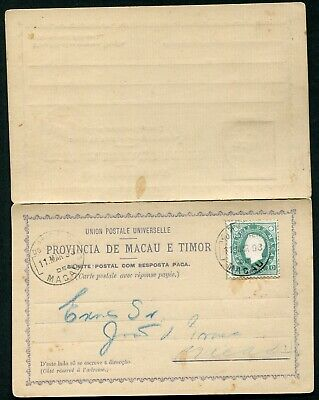 Portugal (Macao) 1892 formula postal stationery reply card H&G 4 used