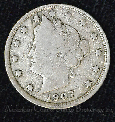 5c Nickel Five Cents 1907 Liberty Head V Nickel 5 Five Cents