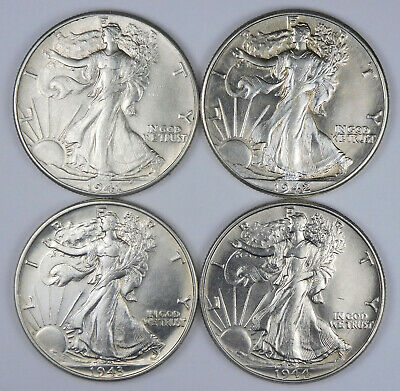1941, 1942, 1943, 1944 Walking Liberty Half Dollars Lot