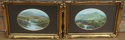 Fab Very Small Pair Of Gilt Framed & Glazed Oval Oil Paintings By Batchelor