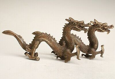 2 Chinese Bronze Handmade Carving Dragon Statue Collection Decoration