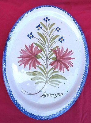 French Hand Painted Faience Charolles Large Oval Serving Dish Auvergne 1930