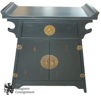 Chinese Asian Ming Style Black Lacquer Altar Cabinet Entry Chest Console Media