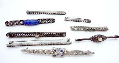 Antique Art Deco Group Silver Bar Pins Some Sterling Wear Repair or Scrap 24503