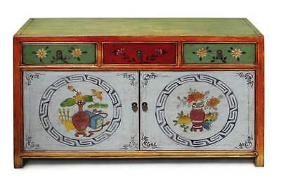 Chinese Sideboard Asia Dresser China Furniture Coloured, Restored Cabinet