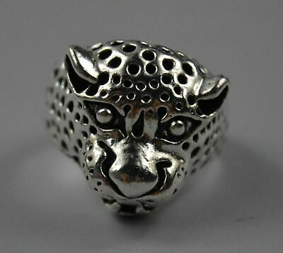 China Collectable Handwork Old Miao Silver Carve Exorcism Leopard Head Rare Ring