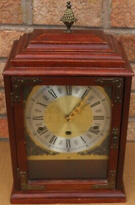 Large Wooden Cased Chiming Mantel Bracket Type Clock