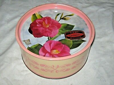 A Rare Vintage 1960's Arnotts Biscuits Imperial 2 lb Round Camellia Biscuit Tin