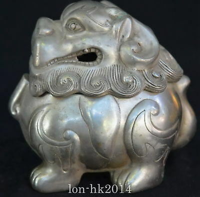 Collectable Handwork Miao Silver Carve Exorcism God Beast Unique Incense Burner