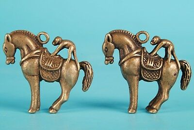 Bronze Hand Chinese Animal Horse Statue Pendant Lucky Collection Figurine