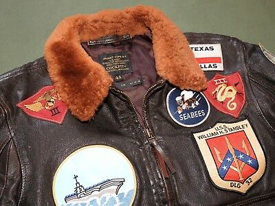 "US Navy Vietnam PILOT STYLE COCKPIT ""TOP GUN"" MAVERICK PATCHED G-1 FLIGHT JACKET"