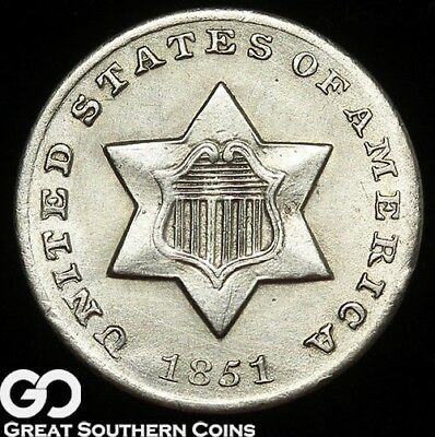 1851-O Three Cent Silver, Better Date New Orleans Issue