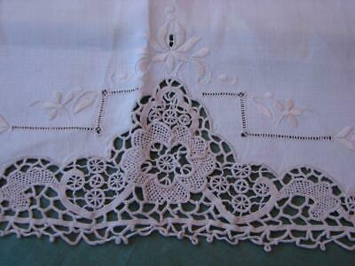 Super Antique Linen Chair,Sofa Backs~Hand Embroidery~Beautiful Needlelace